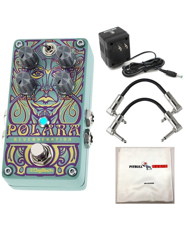 Digitech POLARA Stereo Reverb Pedal with Power Supply, 2 Patch Cables, & Polishing Cloth