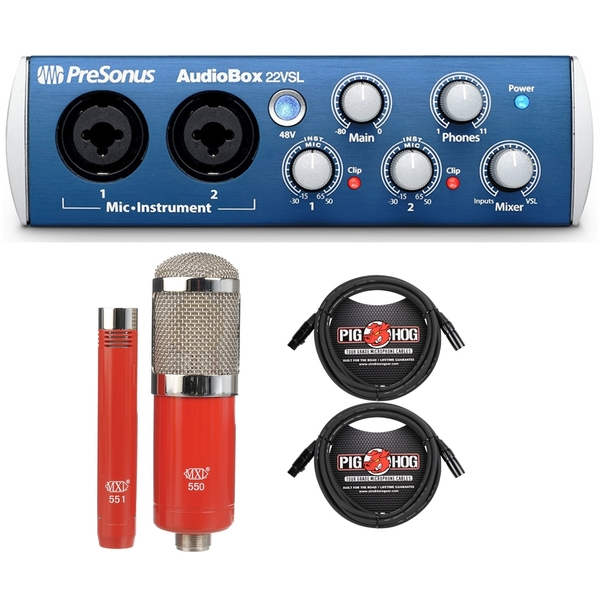 PreSonus AudioBox 22 VSL 2x2 USB 2.0 Recording Interface with MXL Microphone Set and Cables