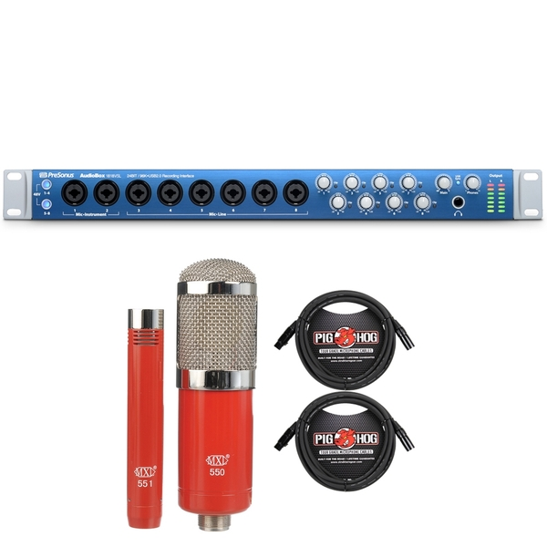 Presonus AudioBox 1818VSL Advanced 18x18 USB 2.0 Recording Interface with MXL Microphone Set and XLR Cables
