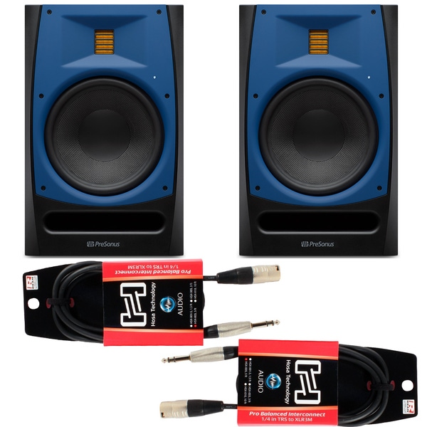 Pair of PreSonus R Series R65 150W Active 2-way AMT Studio Monitors and Cables