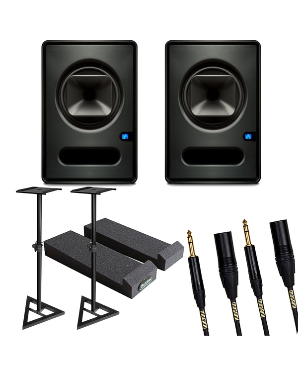 PreSonus SCEPTRE S6 Active Studio Monitor Pair with Stands, Isolation Pads, and Mogami Cables