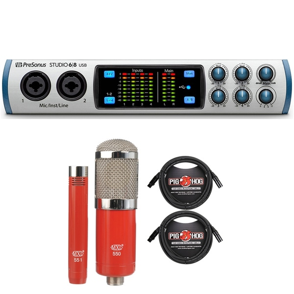 PreSonus Studio 68 USB 2.0 Audio/MIDI Interface with MXL Microphone Set and XLR Cables
