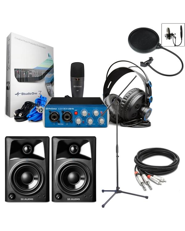 PreSonus AudioBox 96 Studio + AV32 Monitors + Mic Stand + Pop Filter Recording Bundle