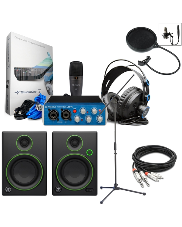 PreSonus AudioBox 96 Studio + Mackie Monitors + Mic Stand + Pop Filter Recording Bundle