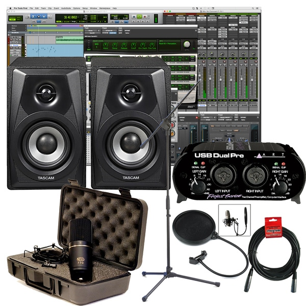 Pro Tools First Home Recording Package with Tascam Monitors, ART Interface, and Microphone