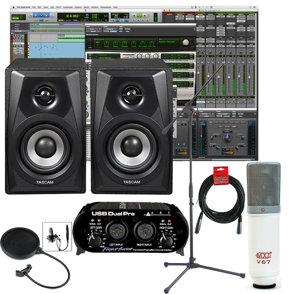 Pro Tools First Home Recording Package 2 with Tascam Monitors, ART Interface, and Microphone