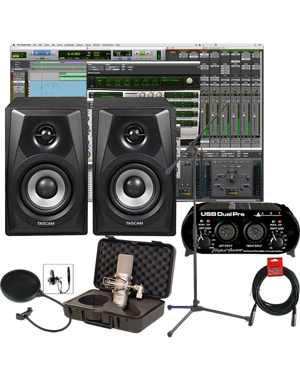 Pro Tools First Home Recording Package 3 with Tascam Monitors, ART Interface, and Microphone
