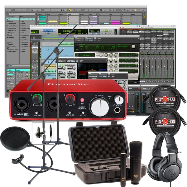 Pro Tools First and Focusrite Interface Home Recording Package, with Microphone Pair, and Audio-Technica Headphones
