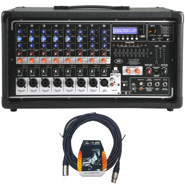 Peavey Pvi 8500 400 Watt 8-Channel Powered Live Sound Mixer with Bluetooth and Cables