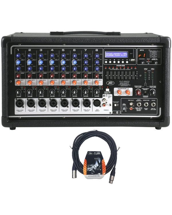 Peavey Pvi 8500 8-Channel Powered Bluetooth Mixer with 20' XLR Cable