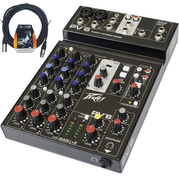 Peavey PV6 6-Input Stereo Mixer (New Version) with 20' XLR Cable