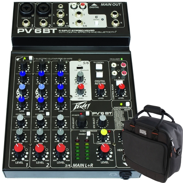 Peavey PV 6 BT 4-Channel Bluetooth Mixer with Gator G-MIXERBAG-1212 Mixer/Gear Bag