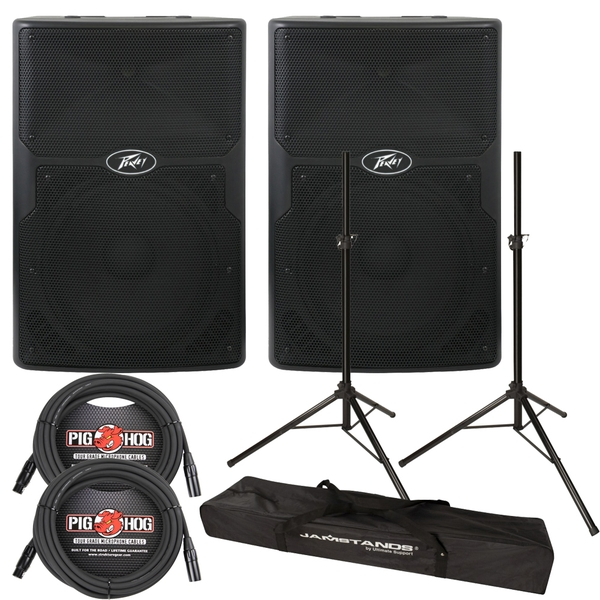Peavey PVXp 12 2-Way Active PA Speaker Pair with Stands and Cables