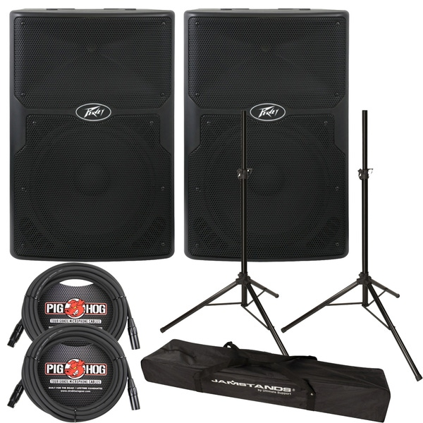 Peavey PVXp 15 2-Way Active PA Speaker Pair with Stands and Cables