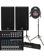 QSC E12 PASSIVE SPEAKERS + MACKIE MIXER + STANDS + CABLES PACKAGE BUNDLE