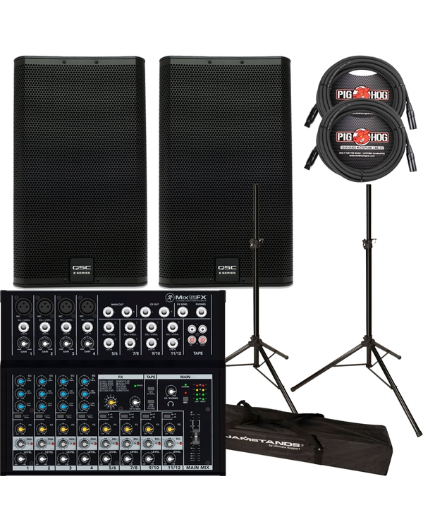 QSC E15 PASSIVE SPEAKERS + MACKIE MIXER + STANDS + CABLES PACKAGE BUNDLE