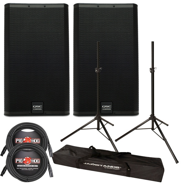 QSC E15 PASSIVE SPEAKERS + ULTIMATE STANDS + CABLES PACKAGE BUNDLE