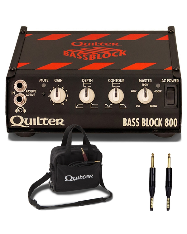 Quilter BB-800 Bass Block 800 Amp Head with Carry Case and 25ft Mogami Gold Instrument Cable