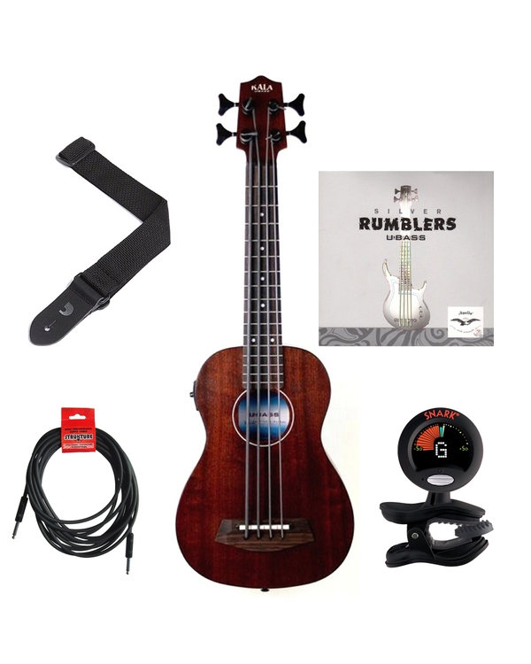 Kala U-BASS Rumbler Fretted Ukulele Bass Essentials Pack