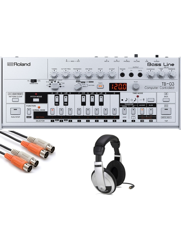 Roland TB-03 Bass Line Synthesizer with MIDI Cable and Headphones