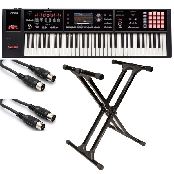 Roland FA-06 61-Key Keyboard Workstation with Ultimate Support IQ-3000 X-style Stand and MIDI Cables