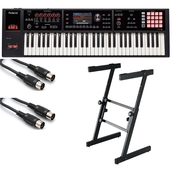 Roland FA-06 61-Key Keyboard Workstation with On-Stage KS7350 Heavy Duty Z Stand and MIDI Cables