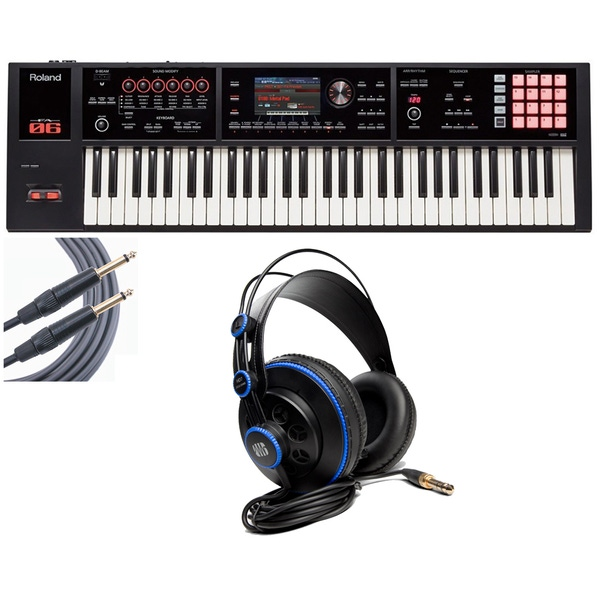Roland FA-06 61-Key Keyboard Workstation with PreSonus Headphones and 18' Mogami Cable