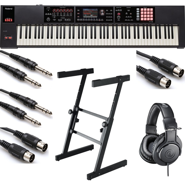 Roland FA-08 88-Key Music Workstation with On-Stage KS7350 Z Stand, Headphones, and Cables
