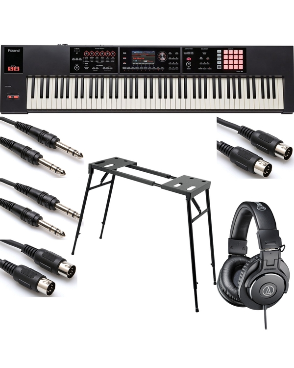 Roland FA-08 88-Key Music Workstation with On-Stage KS7150 Platform-Style Stand, Headphones, and Cables