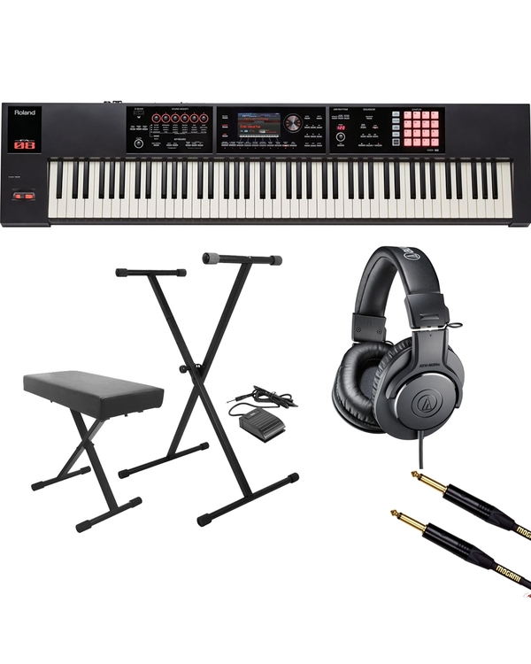 Roland FA-08 88-Key Music Workstation with Stand, Bench, Sustain Pedal, Headphones, and Mogami Cable
