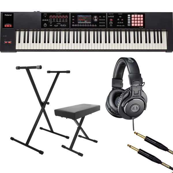 Roland FA-08 88-Key Music Workstation with On-Stage KPK6500 Stand/Bench Pack, Headphones, and Mogami Cable