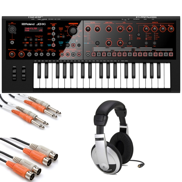 Roland JD-Xi Compact Keyboard Synthesizer with Headphones and Cables