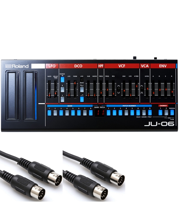 Roland JU-06 Sound Module with 10 ft MIDI Cables
