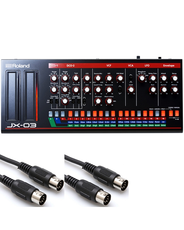Roland JX-03 Sound Module with 10 ft MIDI Cables