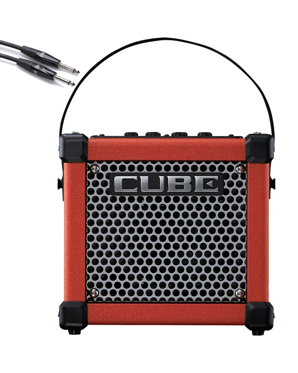 Roland Micro Cube GX Battery Powered Guitar Amplifier (Red) with 10' Instrument Cable