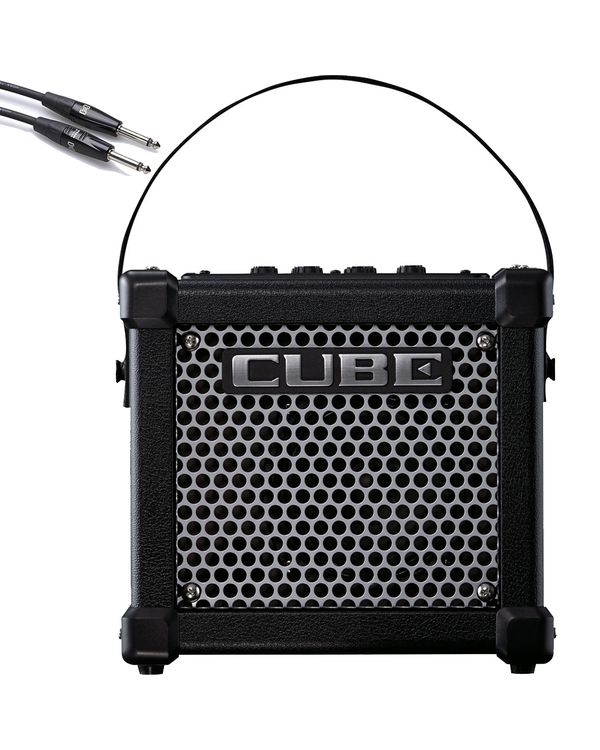 Roland Micro Cube GX Battery Powered Guitar Amplifier with 10' Instrument Cable
