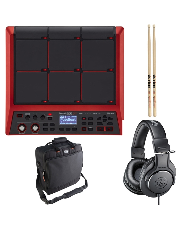 Roland SPD-SX Special Edition Sampling Pad (Red) with Gator Bag, Audio-Technica Headphones, and Drum Sticks