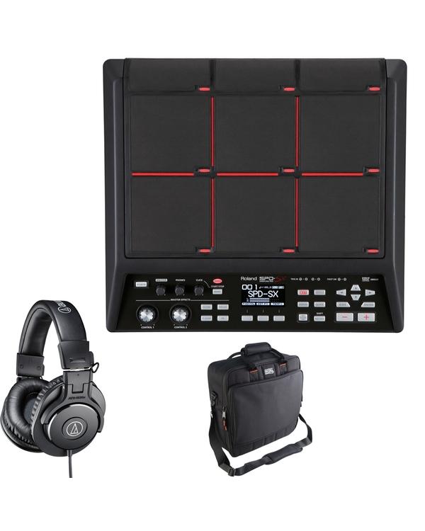 Roland SPD-SX Sampling Percussion Pad (Black) with Gator Bag and Audio-Technica Headphones