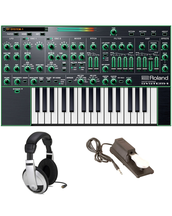 Roland System-1 Plug-out Synthesizer with Sustain Pedal and Headphones