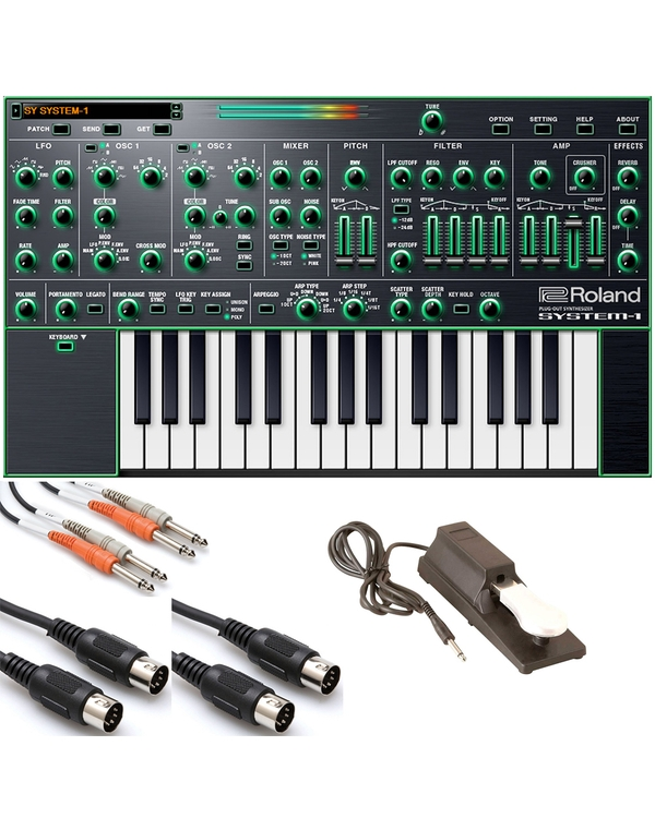 Roland System-1 Plug-out Synthesizer with Sustain Pedal and Cables