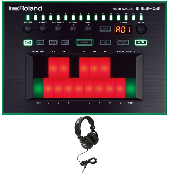 Roland AIRA TB-3 Touch Bassline TB Style Bass Synthesizer with Tascam Studio Headphones Black