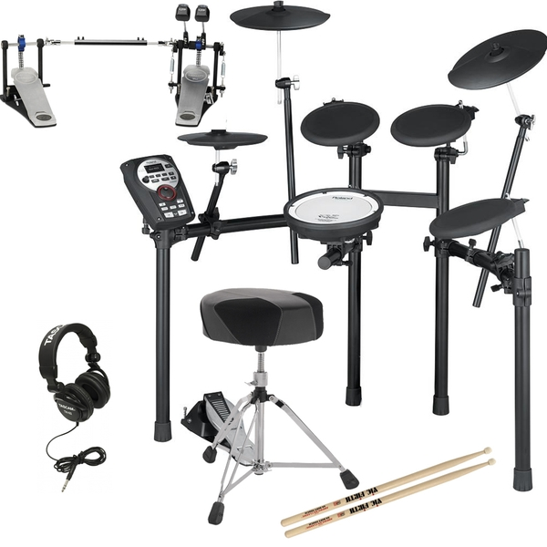 Roland TD-11K Electronic Drum Kit with Double Kick Pedal, Throne, Sticks, & Headphones