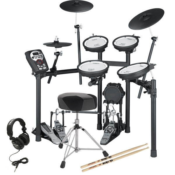 Roland TD-11KV Electronic Drum Kit with Double Kick Pedal, Throne, Sticks, & Headphones