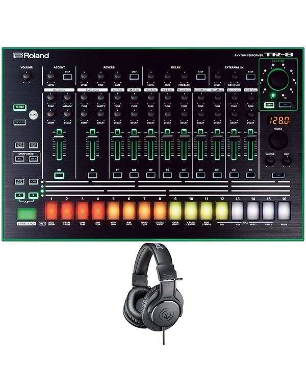 Roland AIRA TR-8 Rhythm Performer Drum Machine with Audio-Technica Studio Headphones
