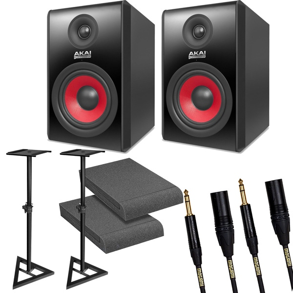 Akai RPM500 Black Studio Monitor Pair with Stands, Isolation Pads, and Mogami Cables