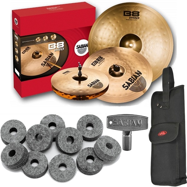 Sabian 35003B B8 Pro Performance Cymbal Set with Stick Bag, Drum Key, and Cymbal Felts