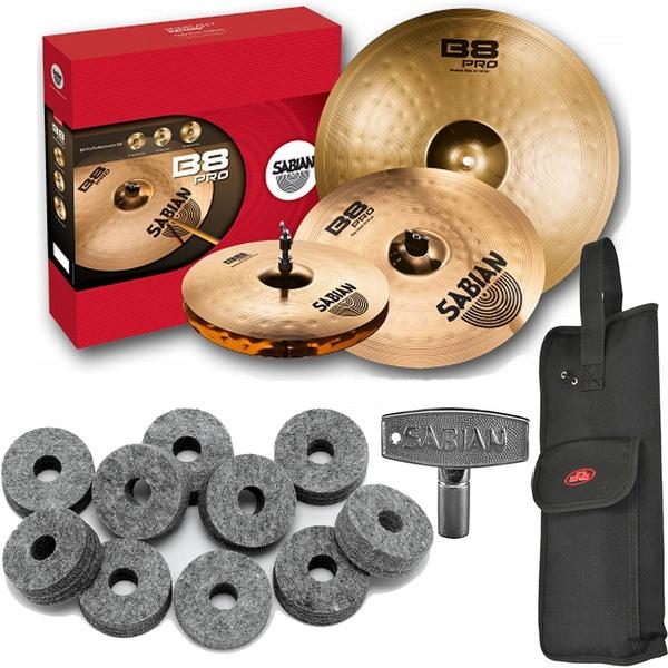 Sabian 35003B B8 Pro Performance Cymbal Set with Stick Bag, Drum Key, and Cymbal Felts