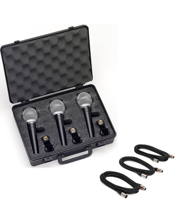 Samson R21 Dynamic Vocal Microphone 3-Pack with XLR Cables