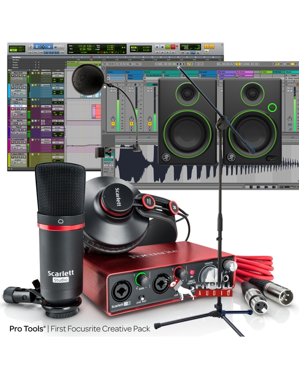 Focusrite Scarlett 2i2 Studio (2nd Gen) Recording Bundle with Pro Tools First, Mackie Monitors, Mic Stand, and Cables