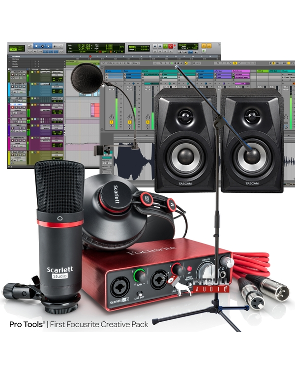 Focusrite Scarlett 2i2 Studio (2nd Gen) Recording Bundle with Pro Tools First, Tascam Monitors, Stand, and Pop Filter